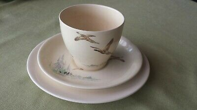 1920s Royal Doulton The Coppice 5803 trio cup saucer plate pheasants rising pond