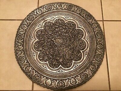 Antique Persian Islamic Damascus Qajar Ottoman Cairoware Silver Copper Charger