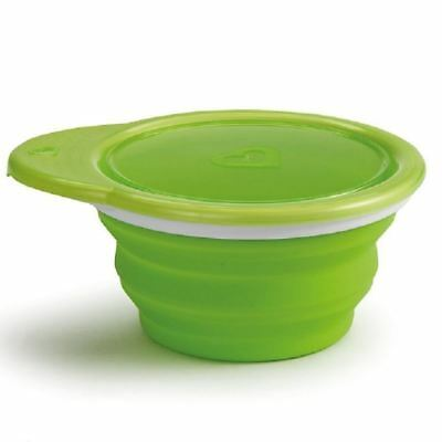 Munchkin Go Bowl Green Collapses for on-the-go feeding 6m+ Silicone