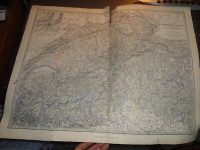 1871 Huge, antique, Colour Map of Switzerland and Alps of Savoy Piedmont, Swiss