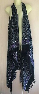 Balinesian Sarong Kaftan Beach Cover Up FREE SIZE 14 16 18 20 22 NEW Black Lime