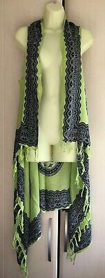 Balinesian Sarong Kaftan Beach Cover Up FREE SIZE 14 16 18 20 22 NEW Lime Black