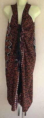 Balinesian Sarong Kaftan Beach Cover Up FREE SIZE 14 16 18 20 22 NEW Orange Blk