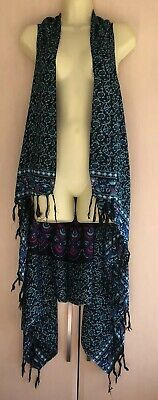 Balinesian Sarong Kaftan Beach Cover Up FREE SIZE 14 16 18 20 22 NEW BLACK TURQ