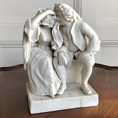 A Victorian Copeland Parian Group 'Uncle Toby And Widow'. After CR Leslie. 23cm.