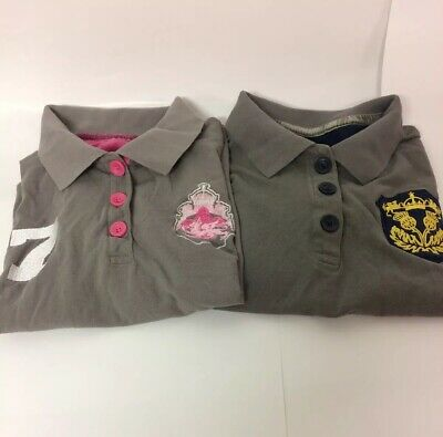 Bundle of 2 Ladies Crane Polo Shirts UK M 12-14 34-36 Grey Team Spirit and 7