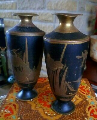 A Pair Of Old Rare Asian Black Coated Brass Antique Vases/Urns Etched With Birds