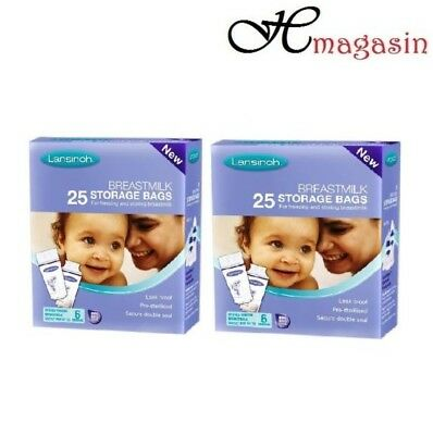 2 X 25 Lansinoh Baby Breast Milk Storage Bags 50 Pieces Pre Sterilized Zipper