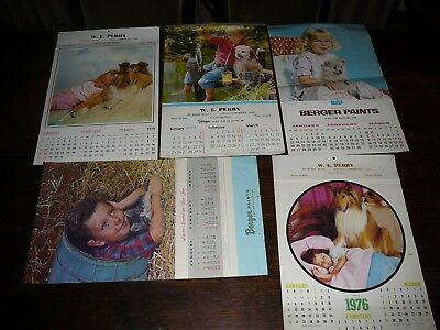5 berger paint vintage calander 1960 1970 advertising W.E.Perry south camberwell