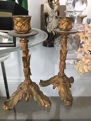 French antique pair of ormolu ornate candlesticks, Late 19thC
