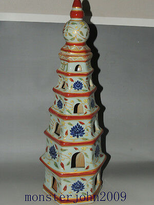Rare Chinese Famille Rose Porcelain  Statues  Pagoda
