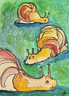 ACEO  FANTASY  watercolor painting Dora Pilssala original SNAIL PASSAGE