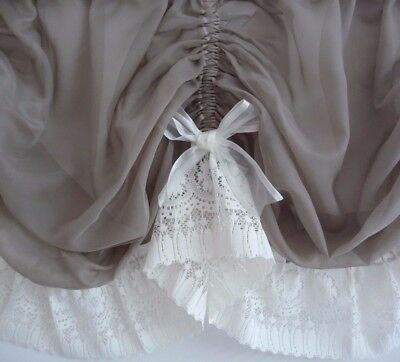 1.60m x 46cm drop TAUPE Voile Sheer Austrian Curtain Valance Cream Lace and Bows