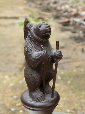 A Antique 19thC Black Forest Hand Carved Bear with Skis Bottle / Wine Stopper