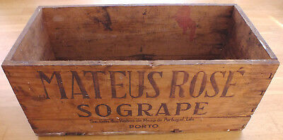 Vintage wooden wine crate Mateus Rose rustic Portuguese shabby chic window box