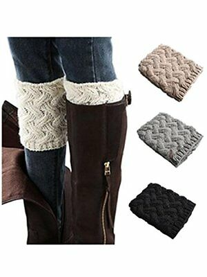 Womens Fashion Winter Leg Warmers Crochet Knitted Cuffs Toppers Boot Socks  AU