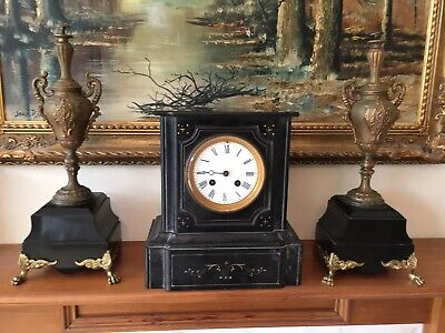 Antique (19th century) French Black Marble Slate Mantle Clock and Garniture Set