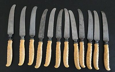12 Carved Celluloid Silver? Dinner Knives Antique Unsigned Landers Frary Clark