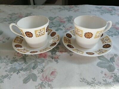 Royal Vale Bone China 2 Tea Cups and Saucers Brown/Cream Flowers/Leaves Pattern