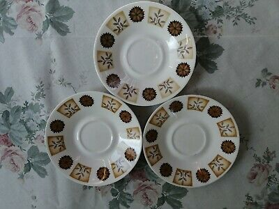 Royal Vale Bone China 3 Saucers Brown/Cream Flowers/Leaves Pattern