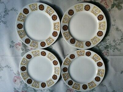 Royal Vale Bone China 4 Tea Plates Brown/Cream Flowers/Leaves Pattern