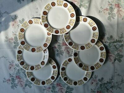 Royal Vale Bone China 7 Tea Plates Brown/Cream Flowers/Leaves Pattern