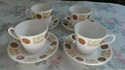 Royal Vale Bone China 4 Tea Cups and Saucers Brown/Cream Flowers/Leaves Pattern