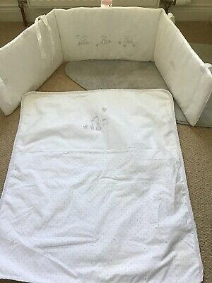Mothercare Cot Bumper And Coverlet Set. Lamb/duck In White