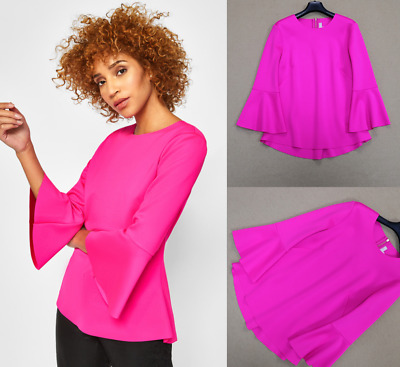 AUTH TED BAKER GIGIH Bell sleeve top Bright Pink Sz 1