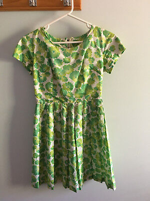 1960s Vintage Pleated Green Floral Dress Estimated Size Small S VGC