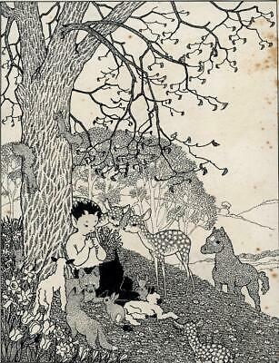 FAUN WITH FOREST ANIMALS UNDER TREE Pen & Ink Drawing LETTICE CHOLMONDELEY 1936