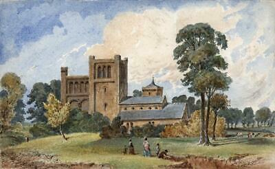 FIGURES & CHURCH IN LANDSCAPE Victorian Watercolour Painting 19TH CENTURY