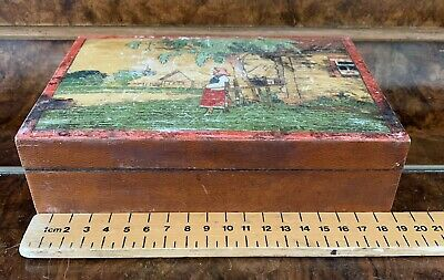 Vintage Hinged Wooden Box Picture Lid