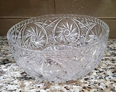 """Avitra Crystal Hand Cut 24% Lead Crystal Footed Center Piece Bowl Heavy 8.5"""""""