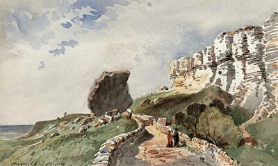 THE UNDERCLIFF ISLE OF WIGHT Small Victorian Watercolour Painting 19TH CENTURY