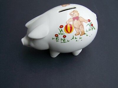 Masons Ironstone England 1984 Pig Shaped Piggy Bank with Teddy Bears Decor
