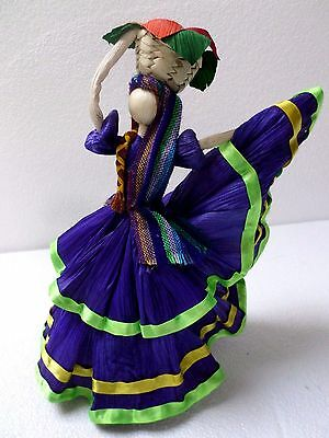 Mexican Folk Art Paper Corn Husk Doll Figure Lupita Lady Folkloric Purple 12x9