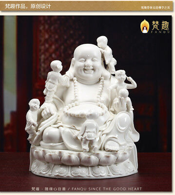 14'' Chinese Dehua white porcelain five boys child and lucky buddha statue