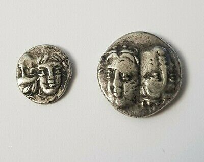 Ancient Greek coin Thrace Istros Greece  silver coin two large and small