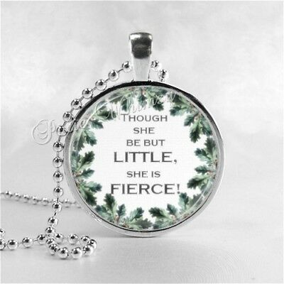 Photo Silver chain Glass Necklace:though she be but little she is fierce #1115