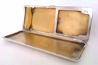 Rare Solid Silver Combination Art Deco Cigarette Case & Matchbook Cover 1934