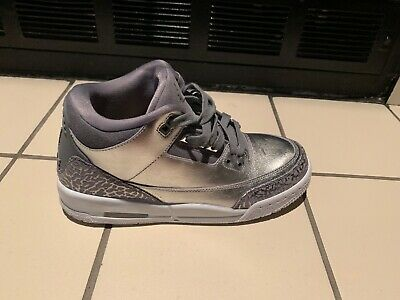 69c340ae9104 Nike Air Jordan 3 III Retro PRM Metallic Silver Chrome Platinum Grey Cement  6.5Y