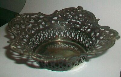 Vintage white metal pierced work Bon Bon  dish. No makers of Hall marks found.