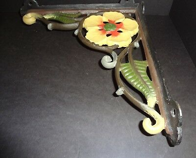 Pair of Antique Heavy Cast Iron Vines & Flowers Brackets Garden Shelf Painted