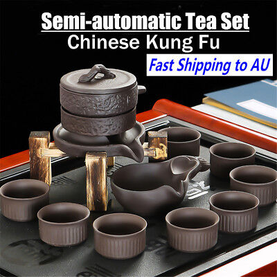 Chinese Kung Fu Infuser Tea Set Semi-automatic Purple Clay Teapot Pot Cup