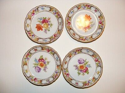 LOT of 4 Schumann Bavaria Empress Dresden Flowers    4 3/16 diameter Coasters ??