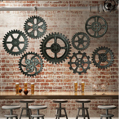 2X Retro Industrial Wooden Gear Art Bar Cafe Vintage Wall Hanging Home Decor DIY