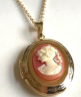 """Gold Cameo Locket Necklace 18"""" Coral Vintage Style Lady Victorian Plated Photo"""
