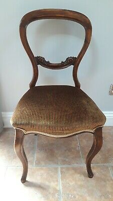 Antique Victorian Balloon Back Carved Walnut Dining Chair.