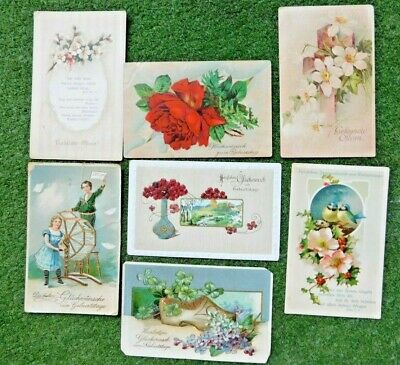 SEVEN ANTIQUE EARLY 1900's GERMAN EASTER POSTCARDS ALL USED